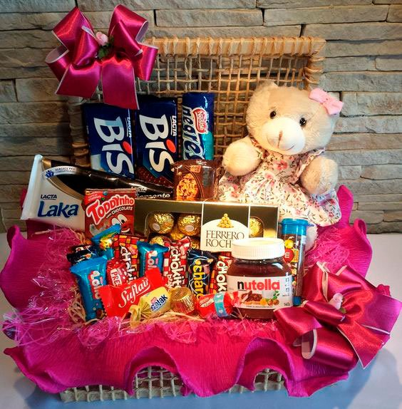 Surprise for Mother's Day with chocolate basket
