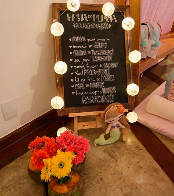 Plaque with pajama party schedule