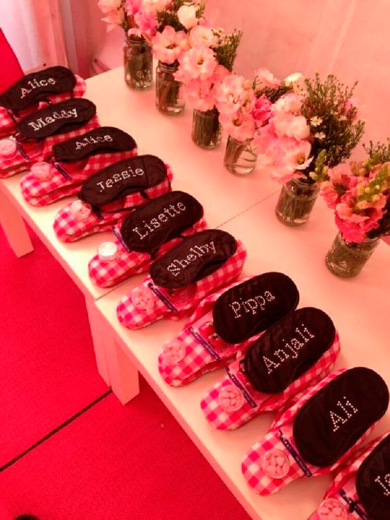 Personalized slipper and mask for slumber party