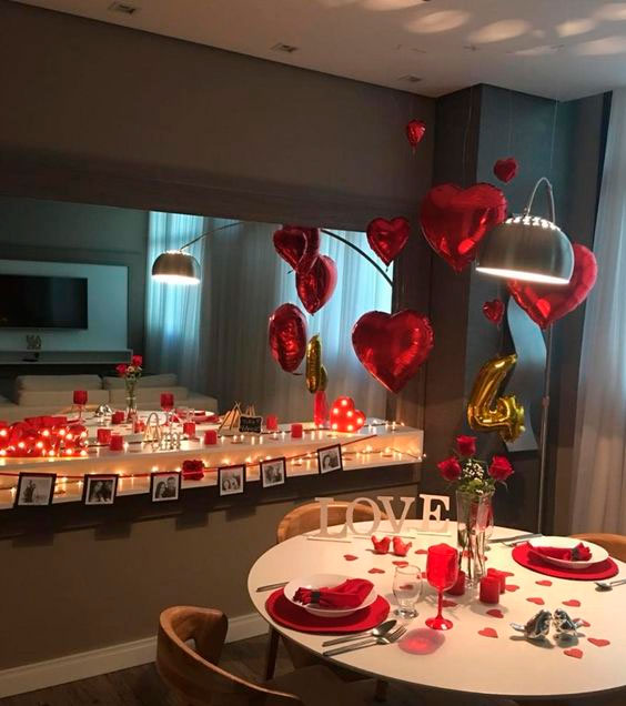 Decorated romantic dinner