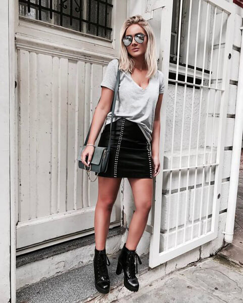 Leather skirt and tractor boot