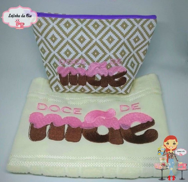 Mother embroidered towel and washcloth