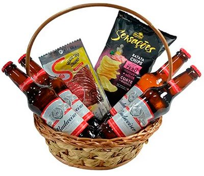 Basket of snacks and beer for your mother