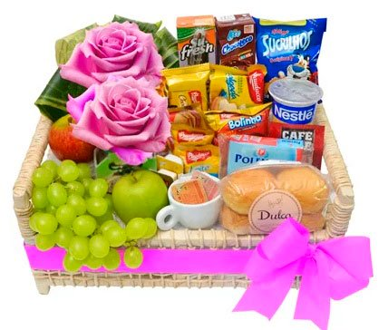 Breakfast basket with roses for your mother