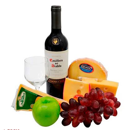 Basket of wines and cheeses for Mother's Day
