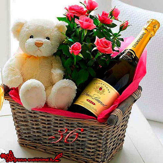 Teddy bear, champagne and flowers for Mother's Day