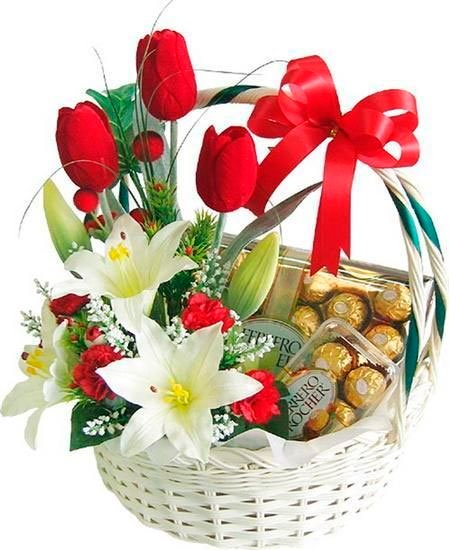Basket with tulips and chocolates for Mother's Day