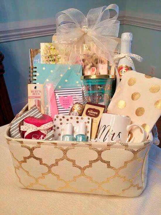 Basket with various treats for Mother's Day