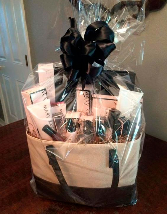 Basket with beauty products for mom