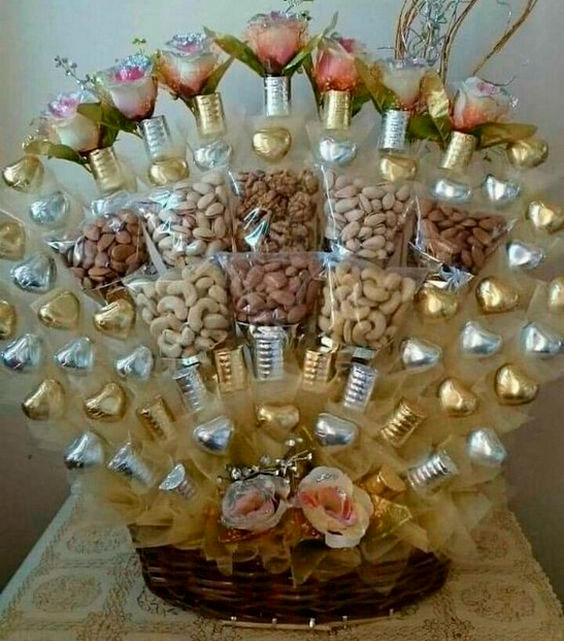 Basket of chocolates and snacks for mom
