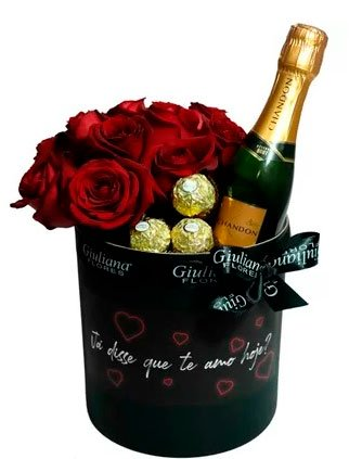 Chocolate with champagne to celebrate with girlfriend