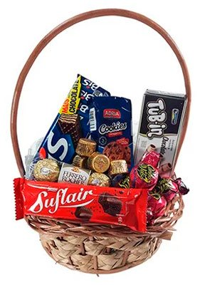 Basket of assorted chocolates for girlfriend