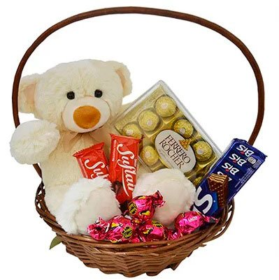 Basket of chocolates for traditional girlfriend with teddy bear