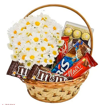 Chocolate basket with daisy for girlfriend