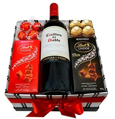 Chocolate and wine for girlfriend
