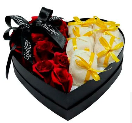 Basket of chocolates for girlfriend with roses and happily married
