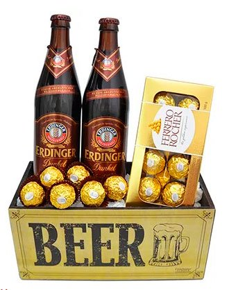 Gift chocolate and beer for girlfriend