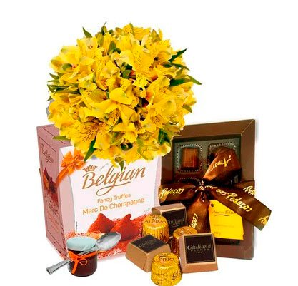 Basket filled with noble chocolates for your beloved