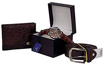 Gift wallet, belt and watch kit for friend