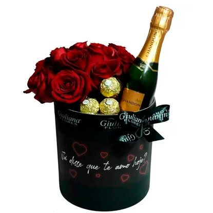 Red roses, champagne and chocolate for your wife